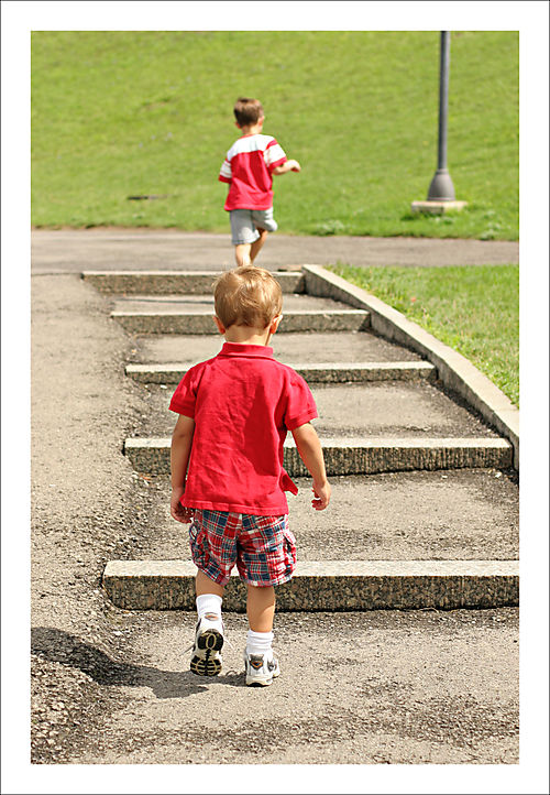 Boys walking steps for blog