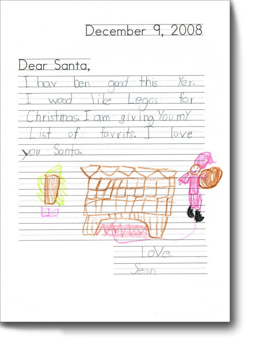 Sean's letter to Santa for blog