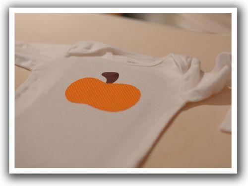 Pumpkin onesie presewing